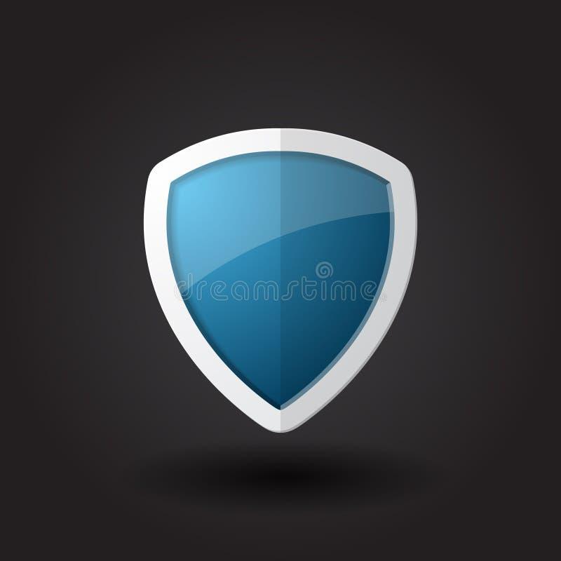 蓝色盾传染媒介 库存例证
