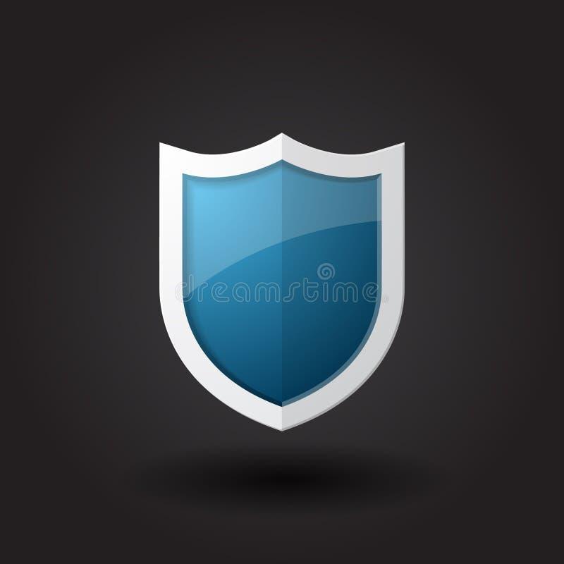 蓝色盾传染媒介 向量例证
