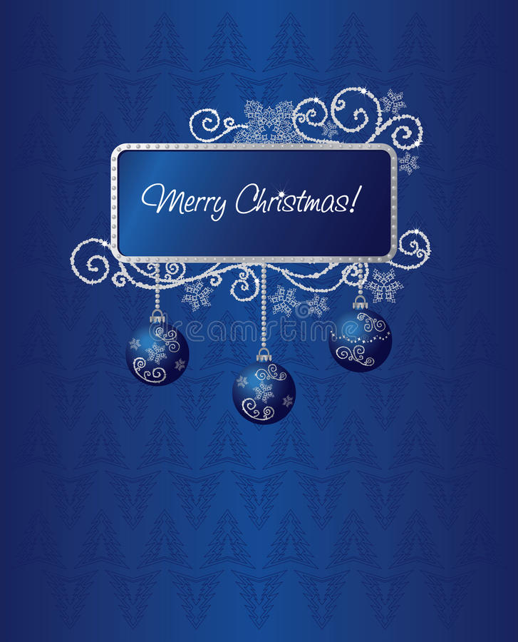 蓝色看板卡圣诞节例证银 向量例证
