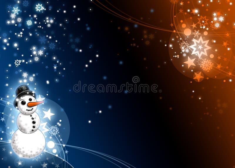 蓝色看板卡橙色雪人xmas 库存例证