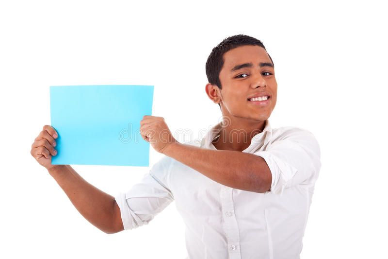 蓝色看板卡现有量拉丁人微笑的年轻&# 库存照片