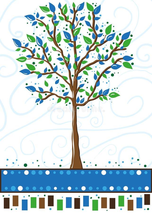 蓝色看板卡绿色问候结构树 免版税库存照片