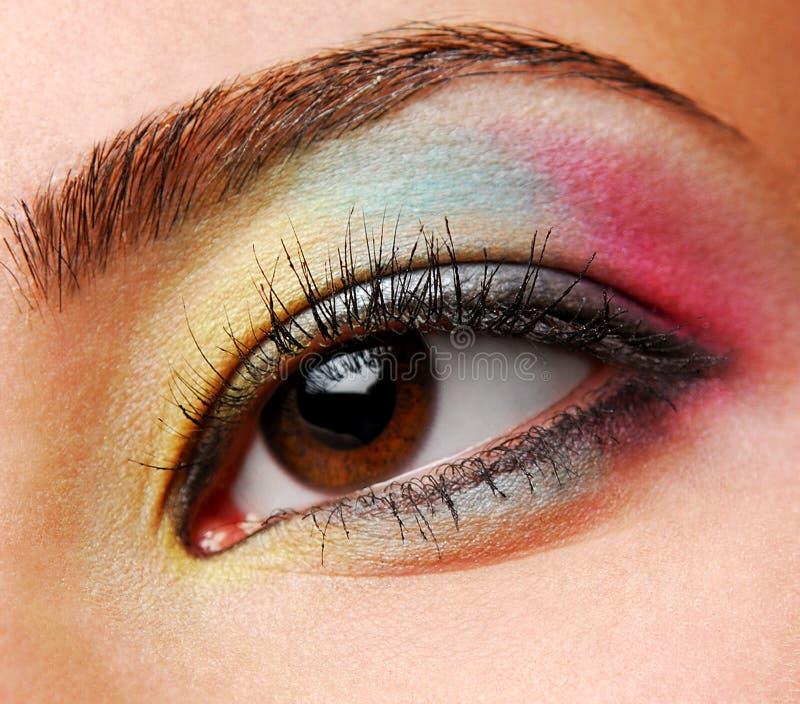 蓝色眼影膏红色黄色 免版税图库摄影