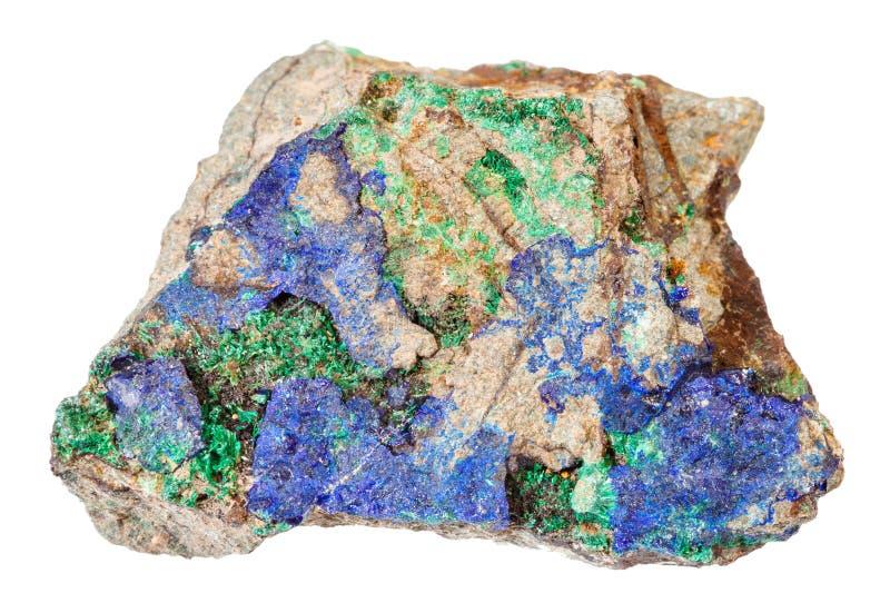 蓝色石青和绿色绿沸铜在被隔绝的石头 图库摄影