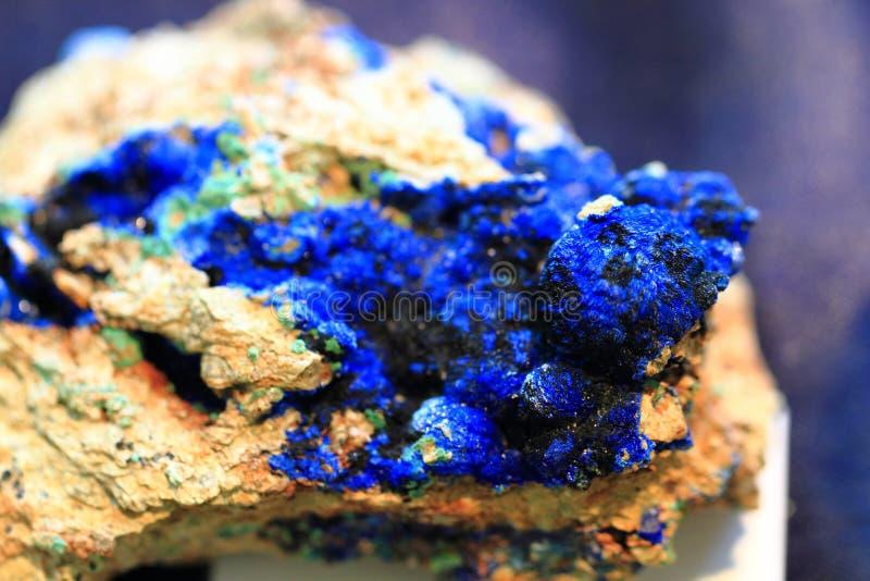 蓝色石青矿物 库存照片