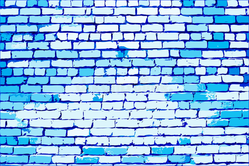 蓝色砖墙 皇族释放例证
