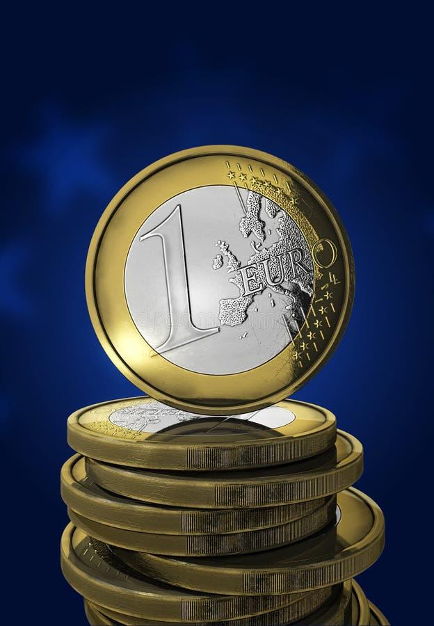蓝色硬币欧元一 向量例证