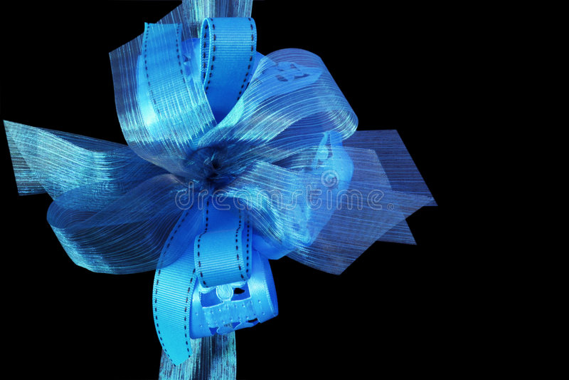 蓝色礼品丝带 免版税库存照片
