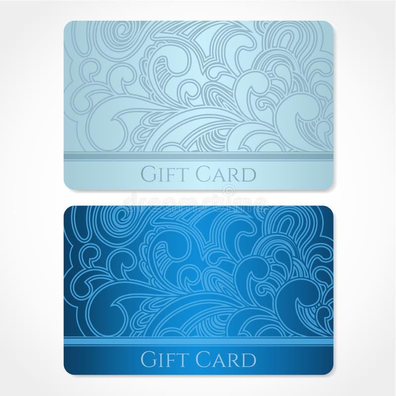 蓝色礼品券(折扣卡片,名片)。Flo 皇族释放例证