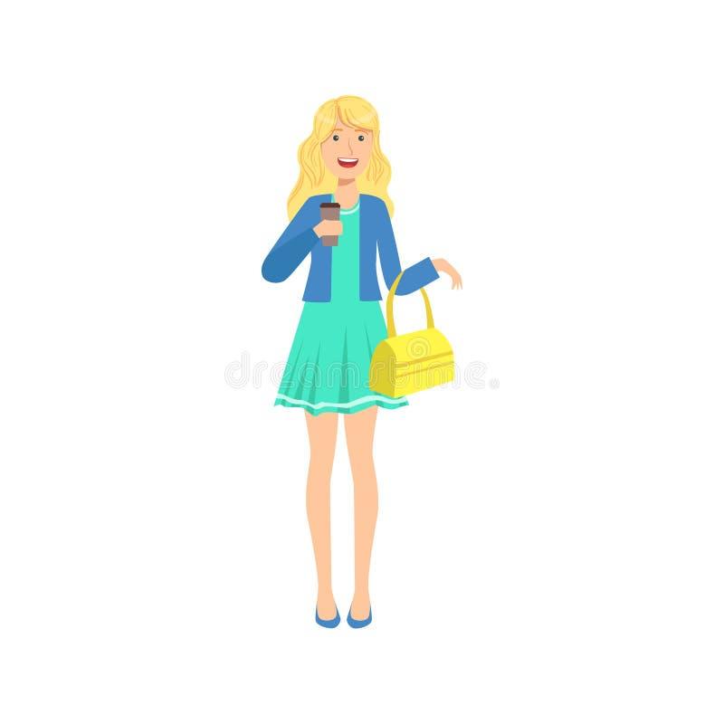 蓝色礼服啜饮的咖啡的,一部分愉快的相当白肤金发的女孩的妇女另外生活方式收藏 向量例证