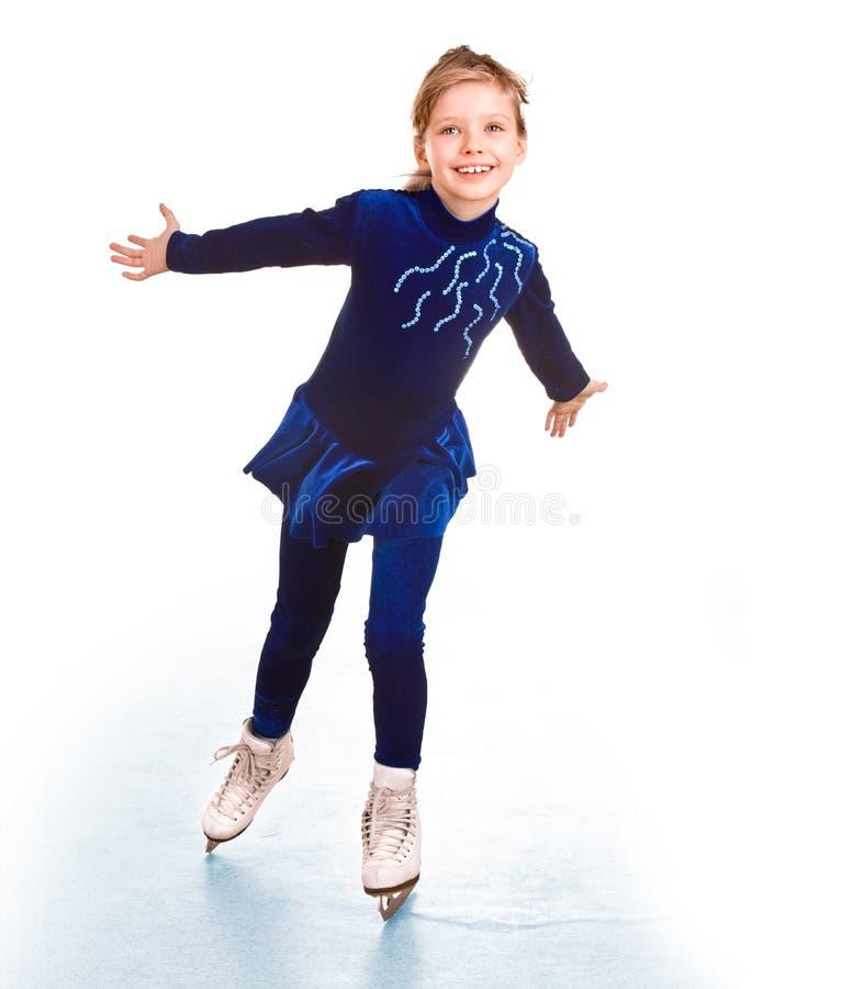 蓝色礼服女孩冰鞋体育运动 库存照片
