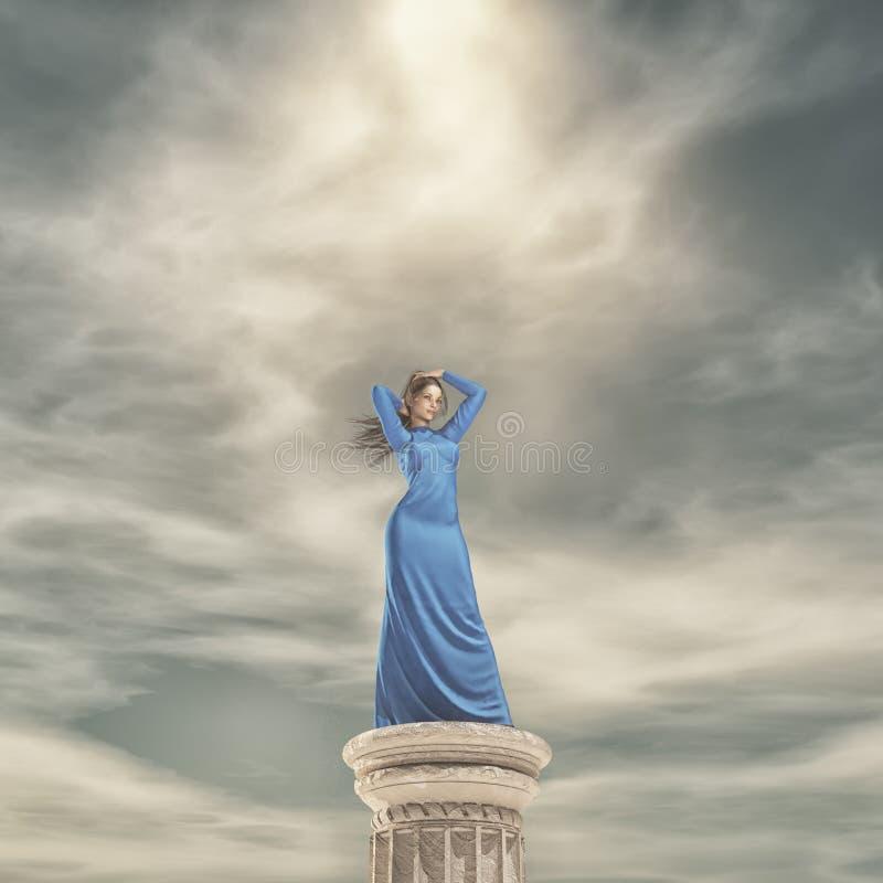 蓝色礼服妇女 皇族释放例证