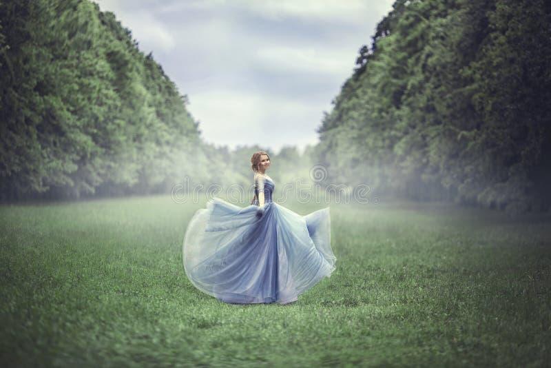 蓝色礼服的年轻美丽的白肤金发的妇女 免版税库存照片