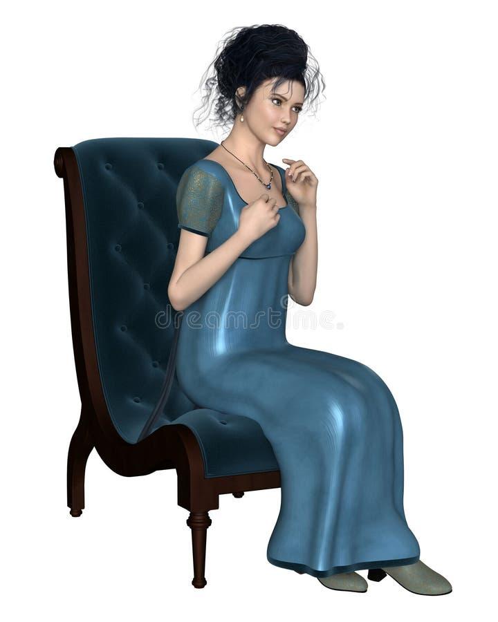 蓝色礼服的摄政妇女坐椅子 皇族释放例证