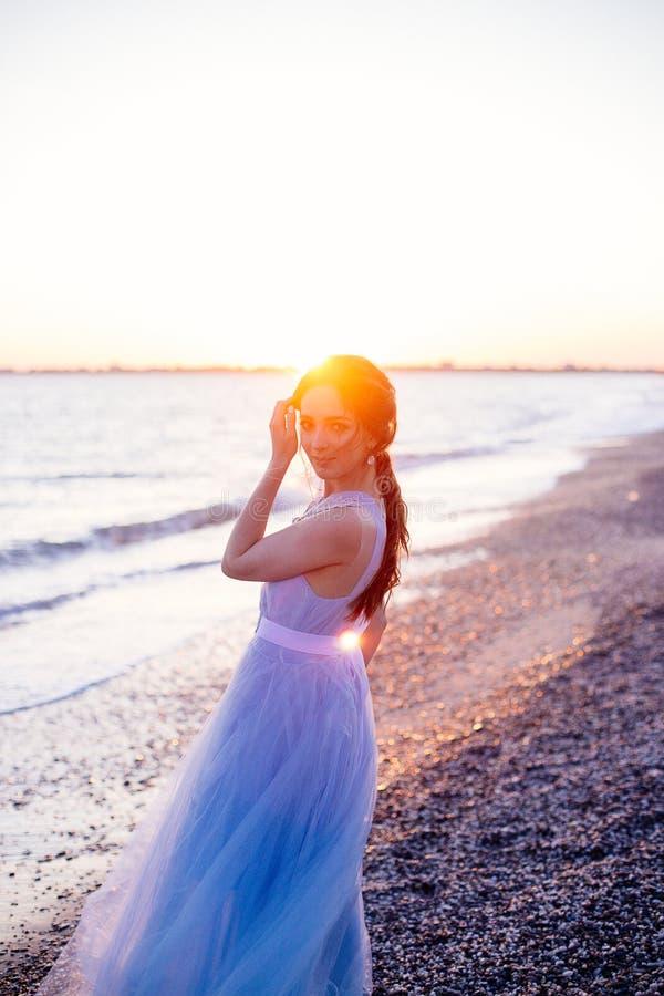 蓝色礼服的新娘 库存照片