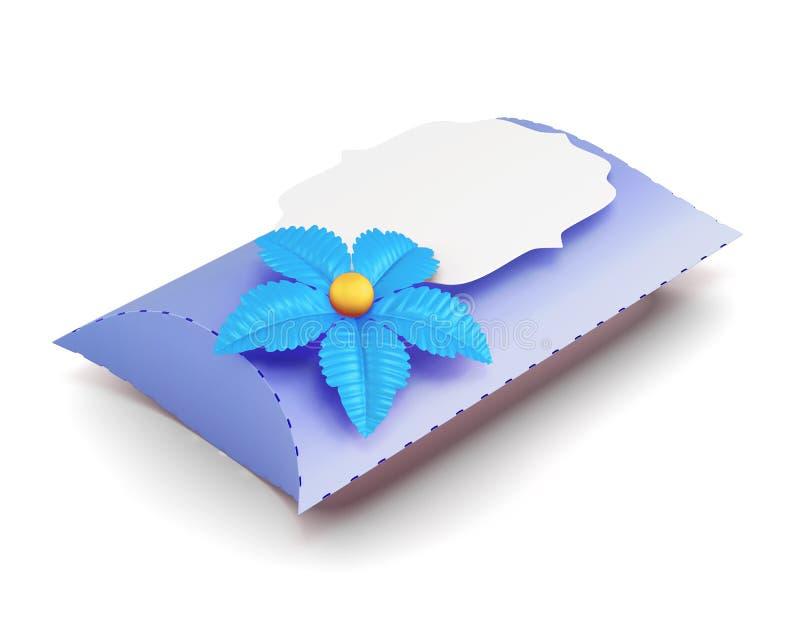 蓝色礼物盒手工制造在白色背景 3D renderin 向量例证