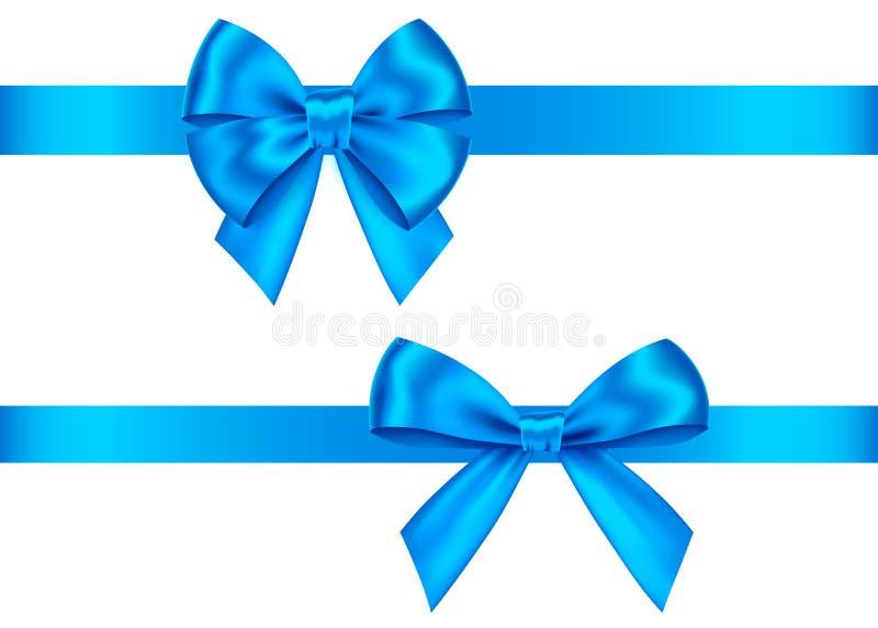 蓝色礼物鞠躬圣诞节的集合,新年装饰 向量例证