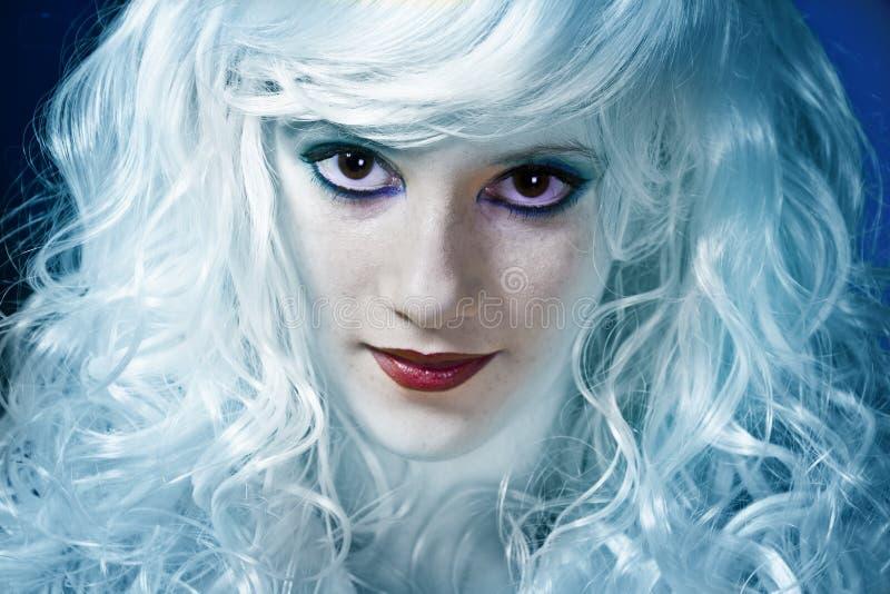 蓝色神仙女孩微笑 库存图片