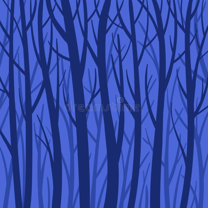 蓝色神秘的背景森林传染媒介平的例证 树剪影 库存例证