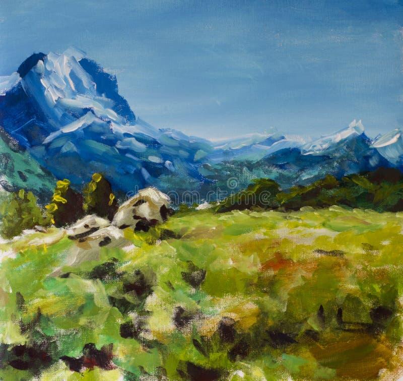 蓝色积雪覆盖的山背景的黄色花卉夏天草甸  蓝天 山风景油画 Impressionis 向量例证