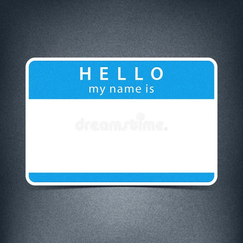 蓝色空白的标记贴纸你好我的名字是 库存例证