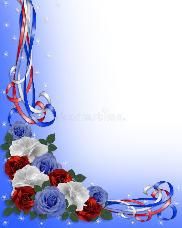蓝色空白边界爱国红色的玫瑰 向量例证