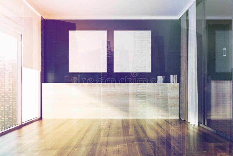 蓝色空的室,被定调子的方形的海报 库存例证