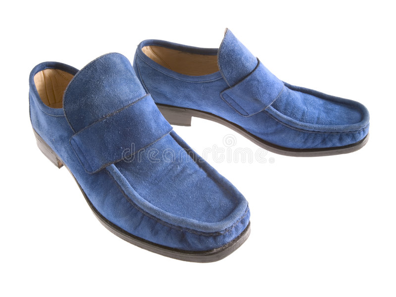 蓝色穿上鞋子绒面革 图库摄影