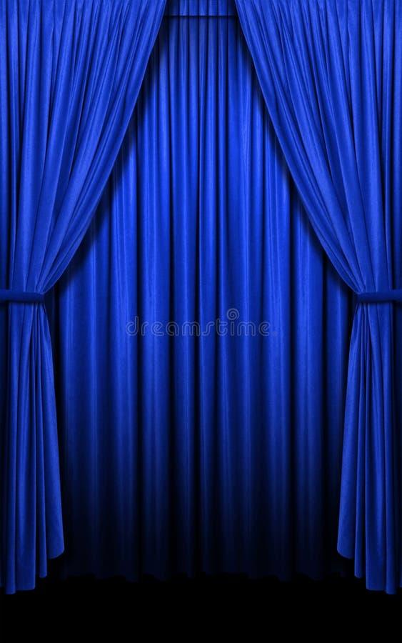 蓝色窗帘格式化垂直 库存图片