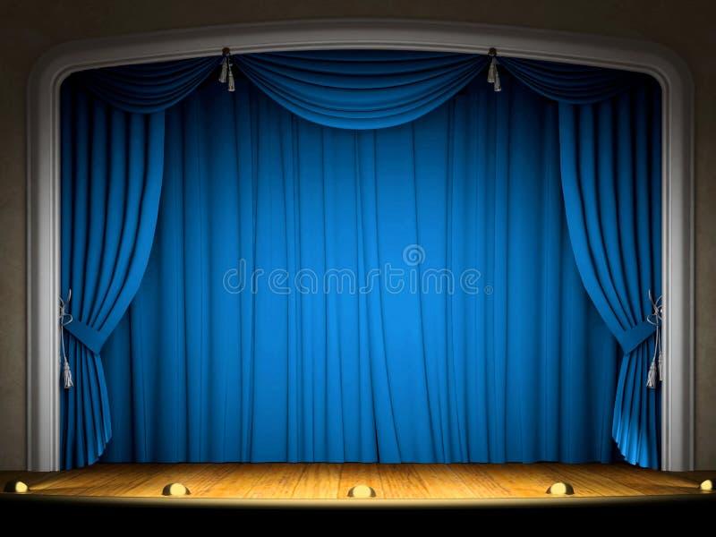 蓝色窗帘空的阶段 向量例证