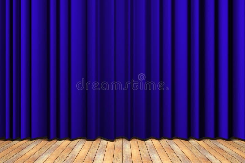 蓝色窗帘阶段 库存例证