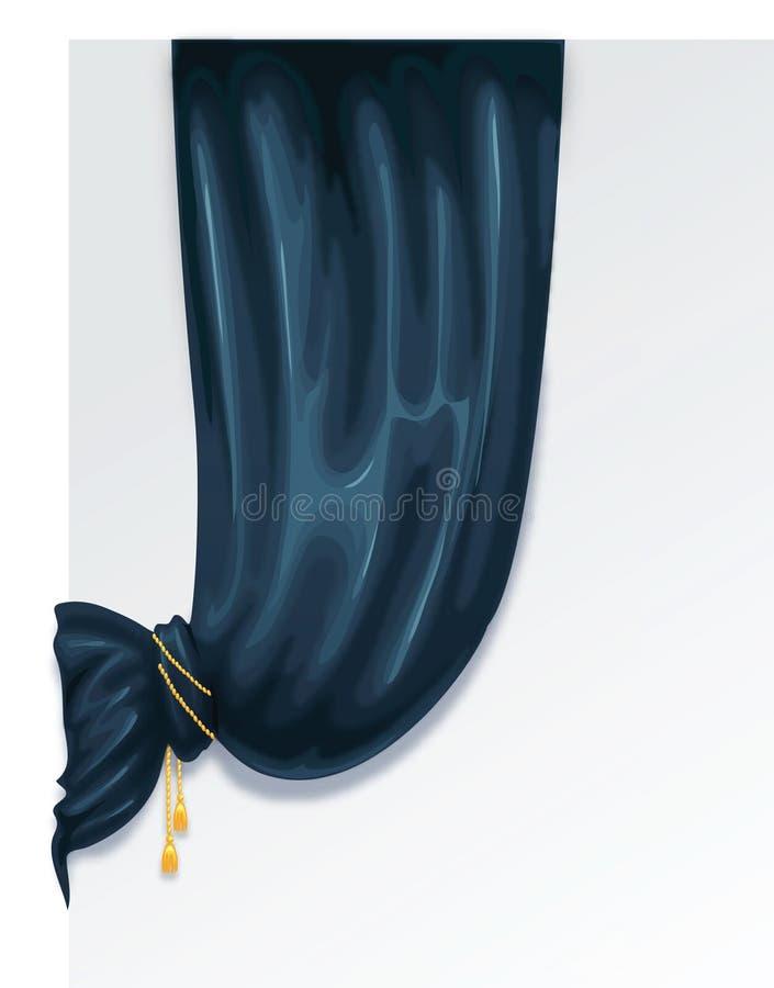 蓝色窗帘 皇族释放例证