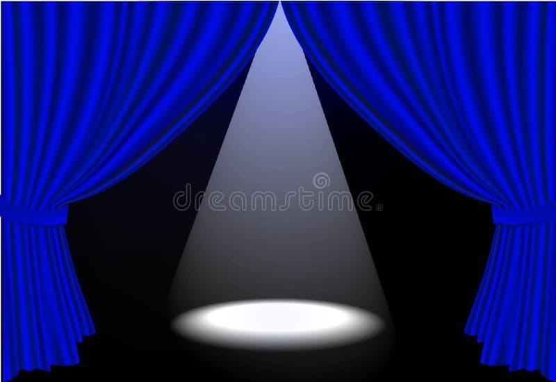 蓝色窗帘ligh可实现的地点阶段 库存例证