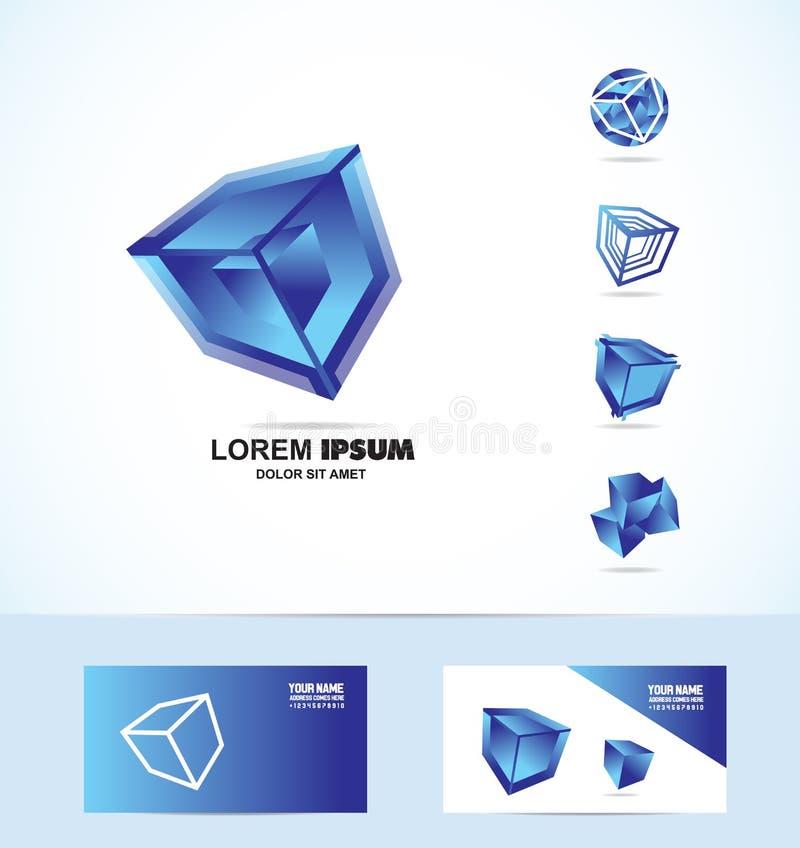 蓝色立方体商标象集合 库存例证
