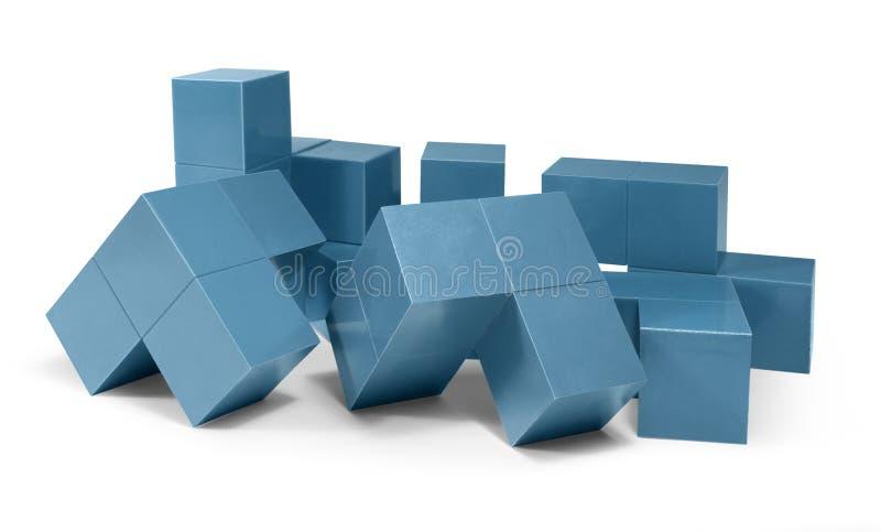 蓝色立方体对象 向量例证