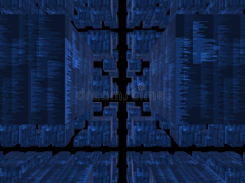 蓝色立方体数据库幻想 免版税库存照片