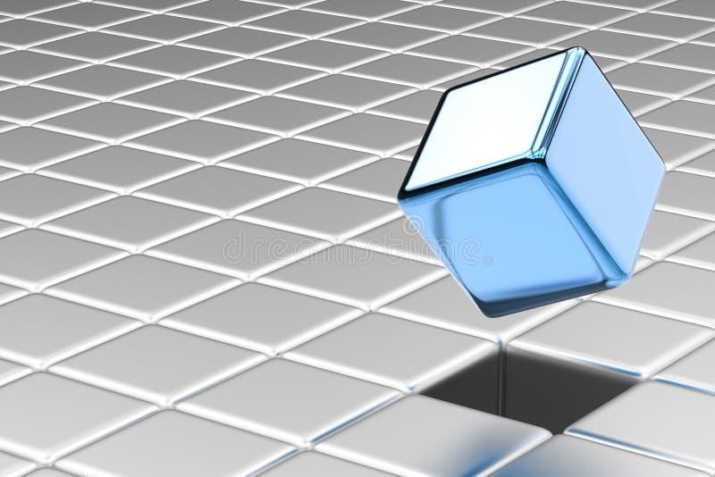 蓝色立方体突然出现 库存例证