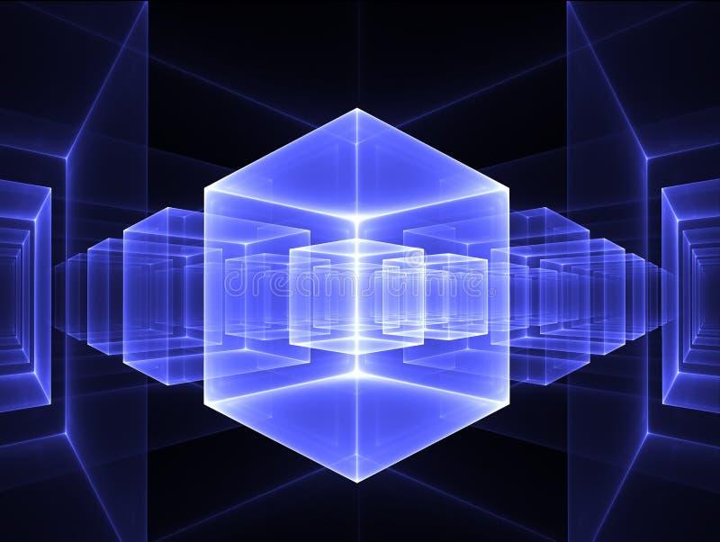 蓝色立方体透视图 皇族释放例证