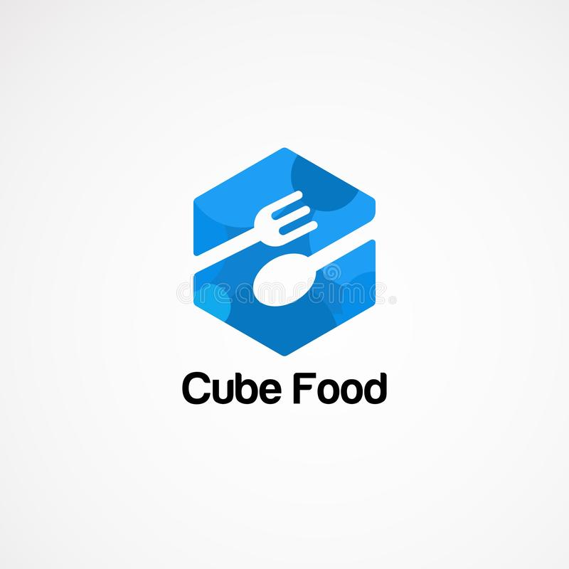 蓝色立方体食物商标传染媒介概念、象、元素和模板公司的 库存例证