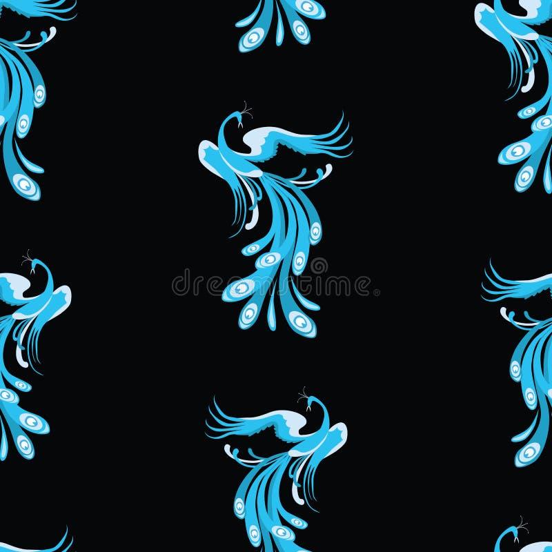 蓝色童话鸟的无缝的样式 向量例证