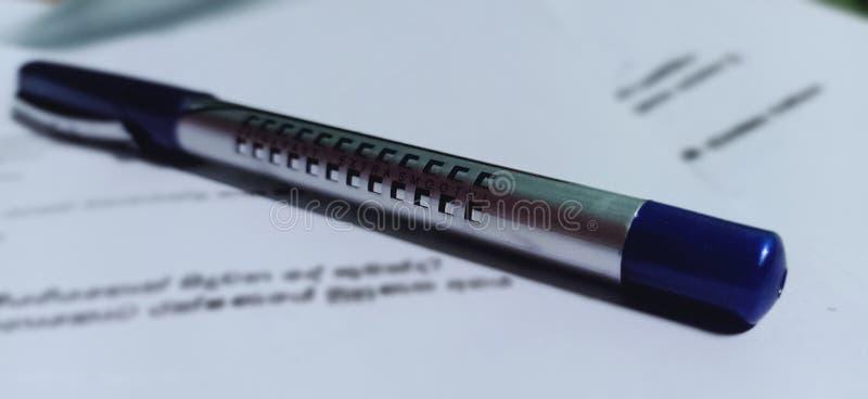 蓝色笔 免版税图库摄影