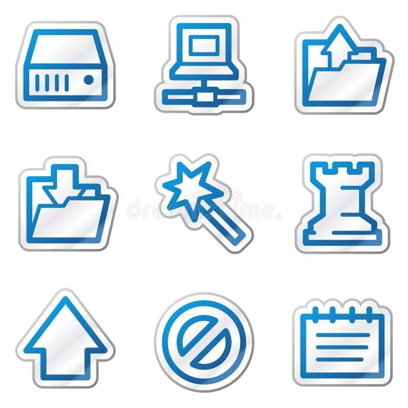 蓝色等高数据图标系列贴纸万维网 库存例证