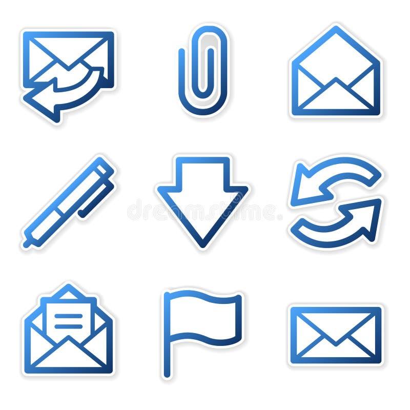 蓝色等高e图标邮件 皇族释放例证