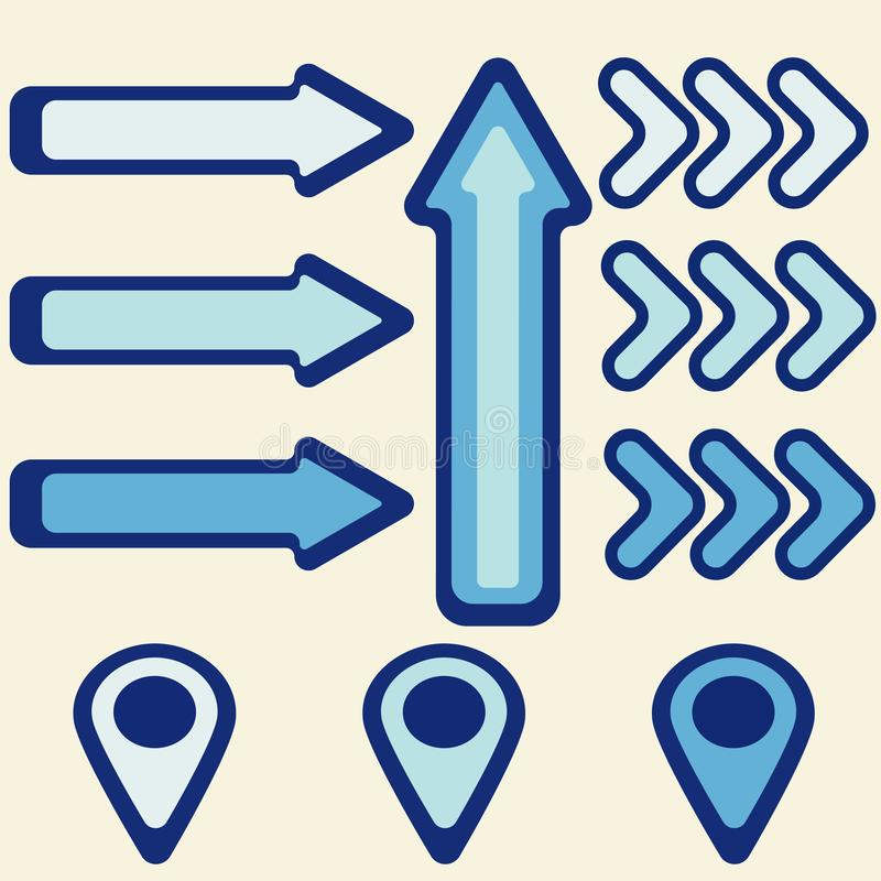 蓝色箭头和尖图表 向量例证