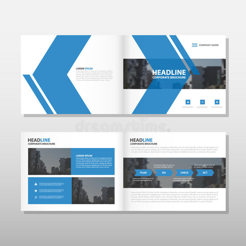 蓝色箭头传染媒介年终报告传单小册子飞行物模板设计,书套布局设计,抽象企业介绍 向量例证