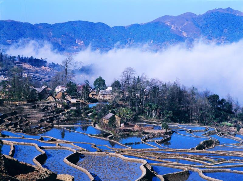 蓝色米大阳台yuanyang 图库摄影