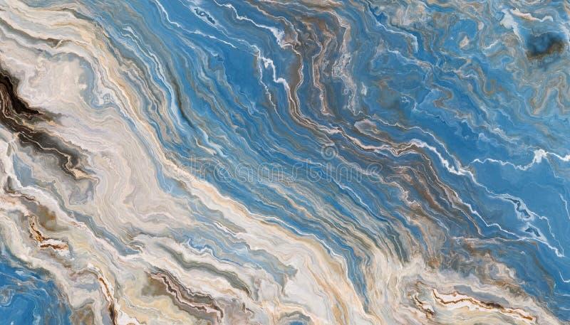 蓝色类似玛瑙的条纹大理石纹理 库存图片