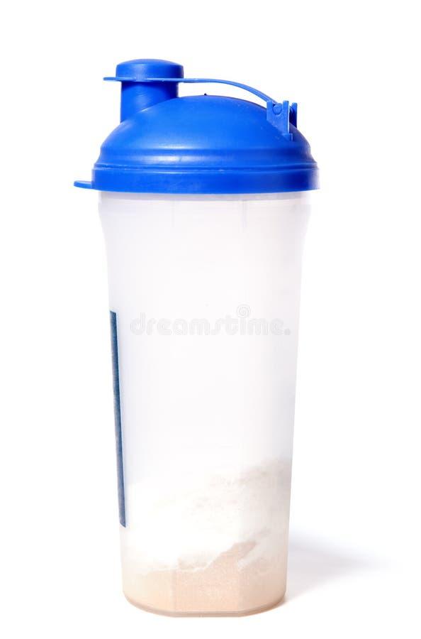 蓝色粉末蛋白质振动器顶层乳清 免版税库存照片
