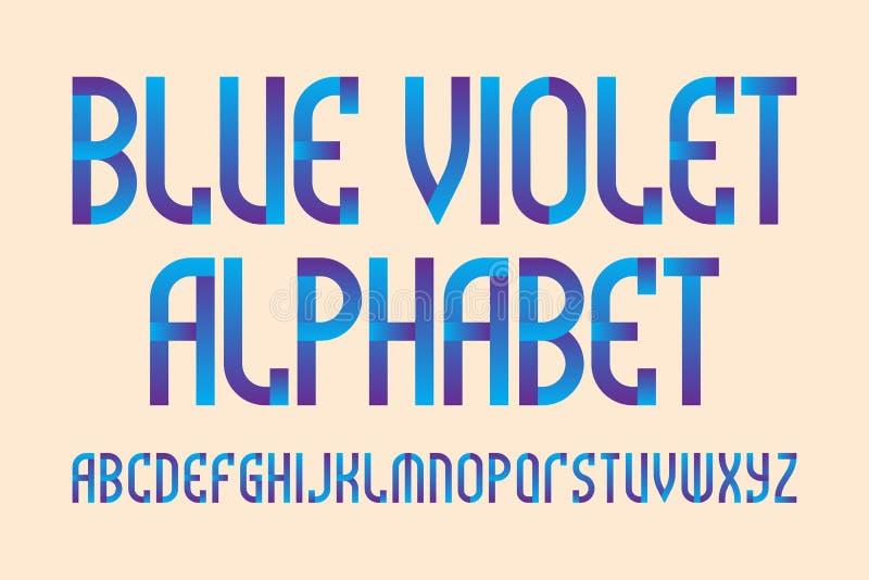 蓝色紫罗兰色字母表 时髦的充满活力的字体 被隔绝的英语字母表 皇族释放例证