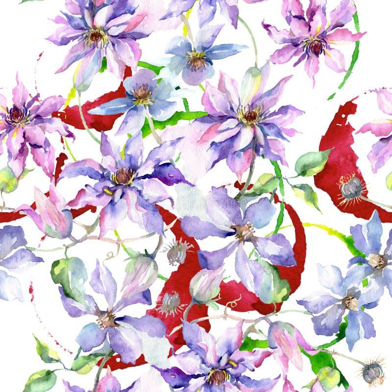 蓝色紫罗兰色铁线莲属花束花卉植物的花 水彩例证集合 无缝的背景模式 库存照片